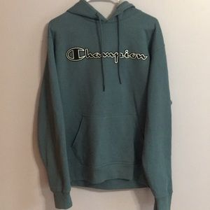 Dark Teal Champion Write Out Hoodie Size Mens Med